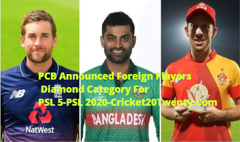 PCB Announced Foreign Players  Diamond Category For PSL 5-PSL 2020-Cricket20Twenty.Com