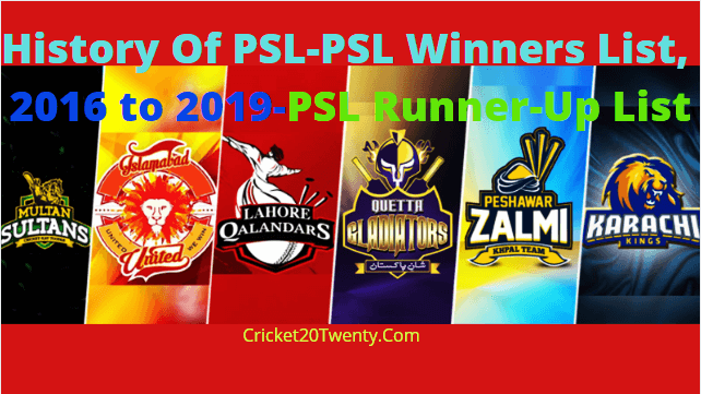 History Of PSL-PSL Winners List, 2016 to 2019-PSL Runner-Up List
